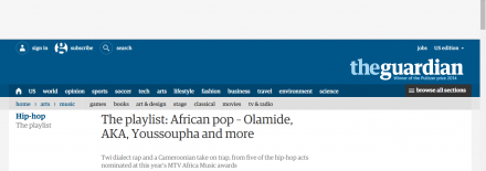 Jovi Featured in The Guardian's Hip-Hop Section on the MTV Africa Music Awards